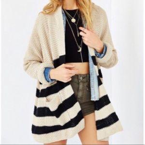 UO BDG Striped Black & Tan Cardigan Sweater